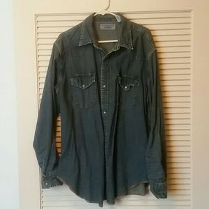Levi Strauss denim chambray snap front shirt xl